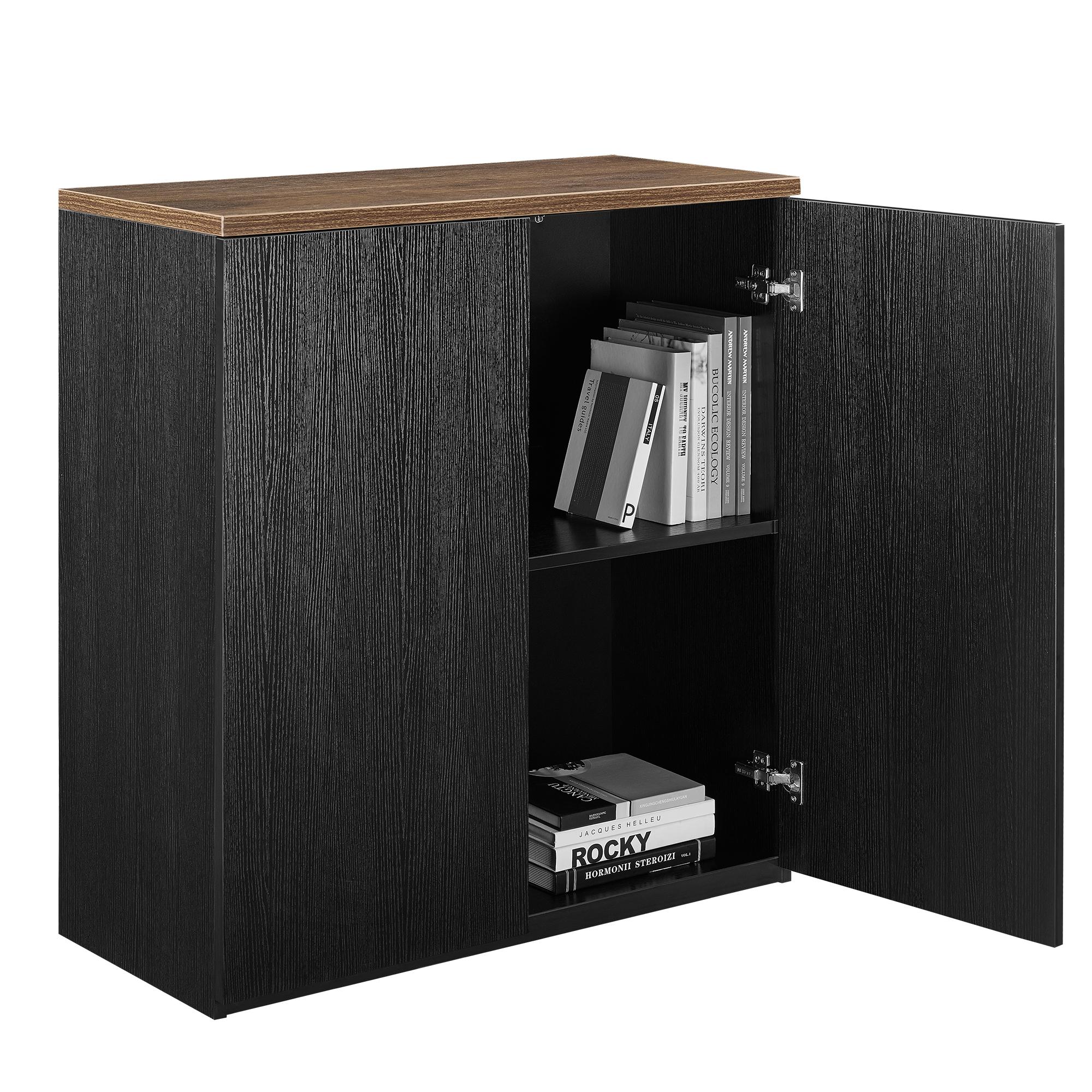 b ro regal schrank 100x90cm schwarz akten b cher sideboard aktenregal. Black Bedroom Furniture Sets. Home Design Ideas