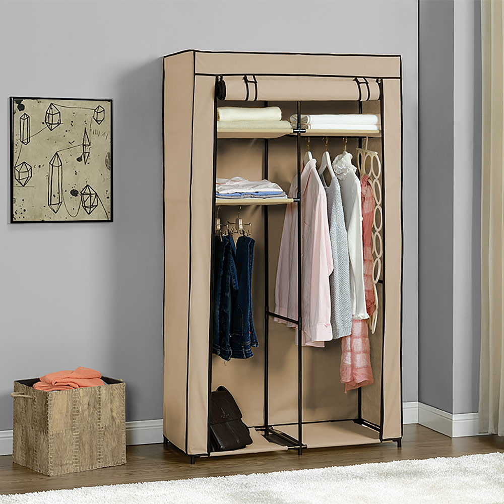 neu holz kleiderschrank 162x90cm beige stoff falt schrank wohnzimmer garderobe ebay. Black Bedroom Furniture Sets. Home Design Ideas