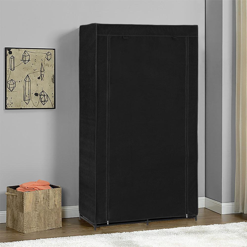 neu holz kleiderschrank 162x90 schwarz stoff falt schrank wohnzimmer garderobe. Black Bedroom Furniture Sets. Home Design Ideas