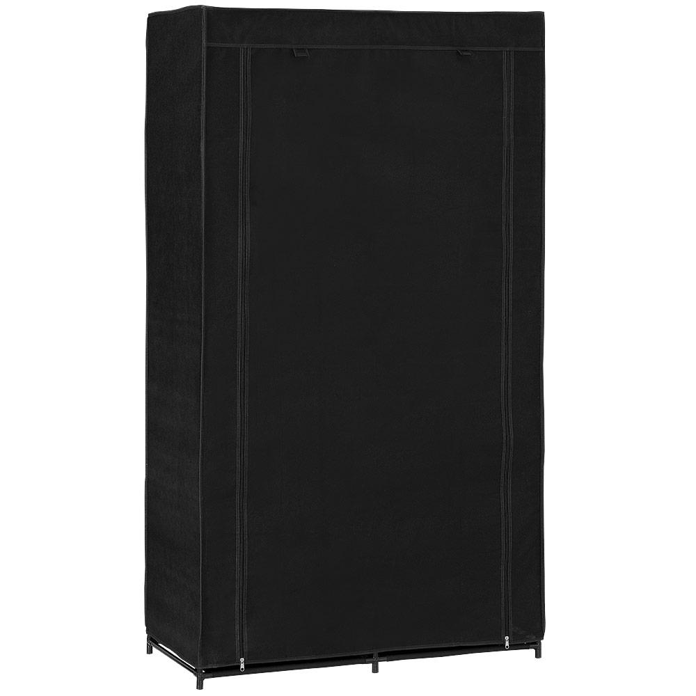 neu holz kleiderschrank 162x90 schwarz stoff falt schrank wohnzimmer garderobe ebay. Black Bedroom Furniture Sets. Home Design Ideas