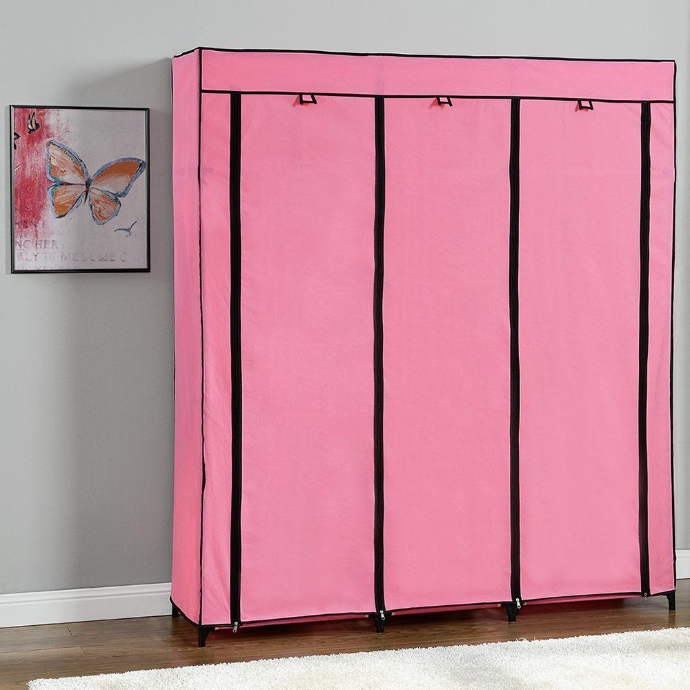 neu holz kleiderschrank 175x150 rosa stoff falt schrank wohnzimmer garderobe ebay. Black Bedroom Furniture Sets. Home Design Ideas
